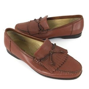 Santoni Mens Leather Loafer Shoes 10.5 D Brown